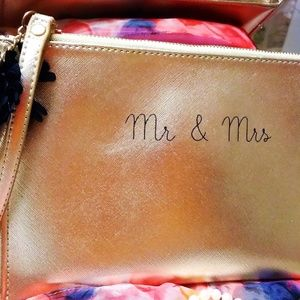 MADISON WEST Women Mr. & Mrs. Clutch Golden Bag